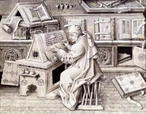 Der Schreiber Jean Mielot in der Schreibstube (Sekretär des Herzogs). Date between 1450 and 1460 Source  Philipp der Gute, Herzog von Burgund